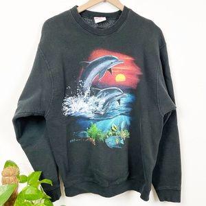 Vintage Dolphins Graphic Sweatshirt- Black